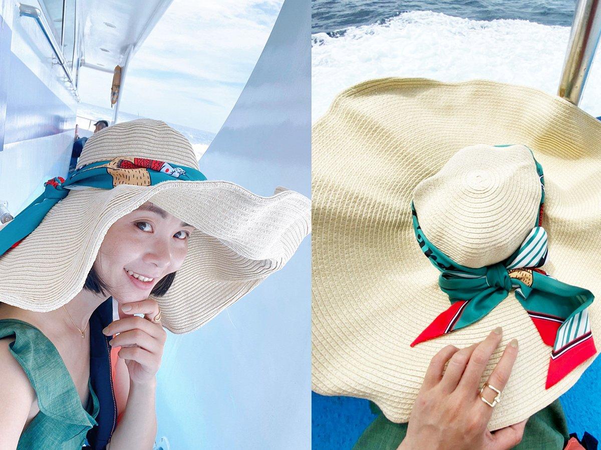 穿搭:NET平價服飾、小方巾用途多、搭配草帽、編織帽、西外都有型